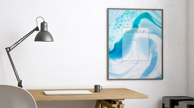 Pokój artysty ozdobiony makietą abstrakcyjnych ramek