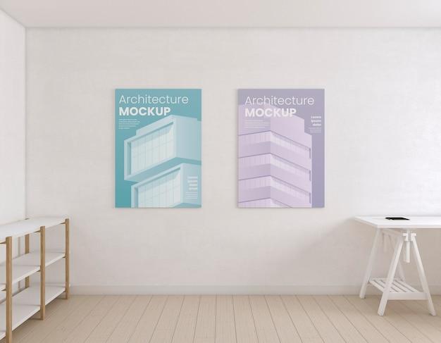 Pokój artysty z makietą plakatu architektury