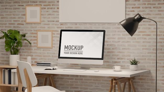 Pokój biurowy w domu renderowania 3d z komputerem roboczym