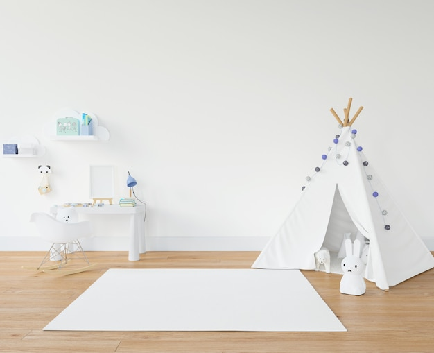 Pokój dziecięcy z białym dywanem i tipi