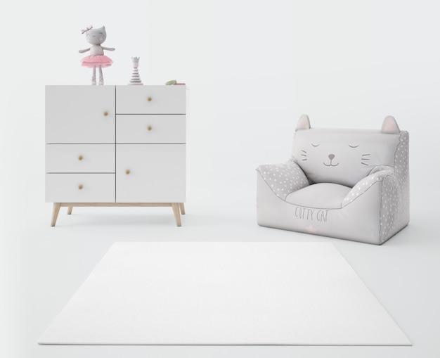 Pokój dziecięcy z białym dywanem