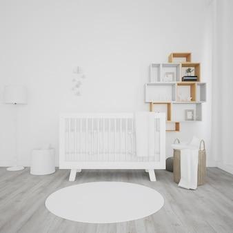 Pokój dziecięcy z białym łóżeczkiem