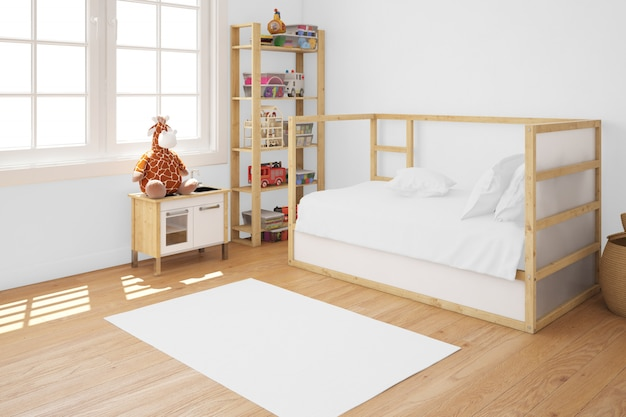 Pokój dziecięcy z drewnianym łóżkiem