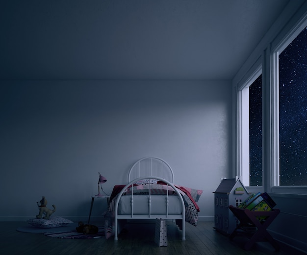 Pokój dziecięcy z łóżkiem i zabawkami w nocy