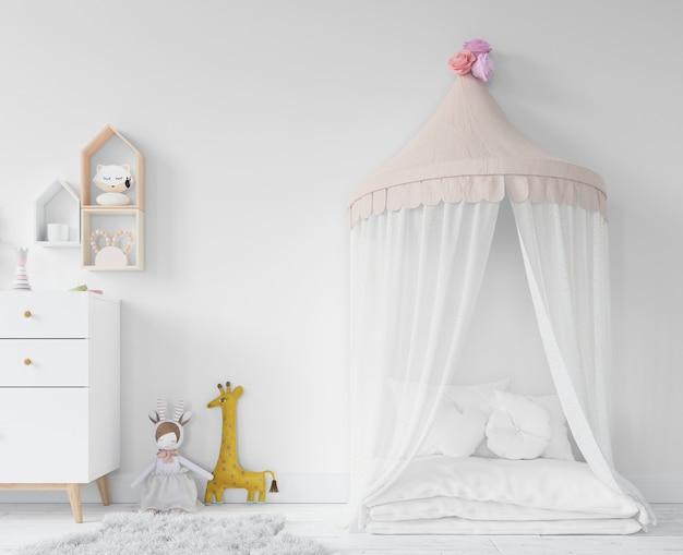 Pokój dziecięcy z łóżkiem księżniczki i zabawkami