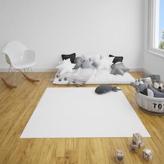 Pokój dziecięcy z sofą i dywanem na drewnianej podłodze