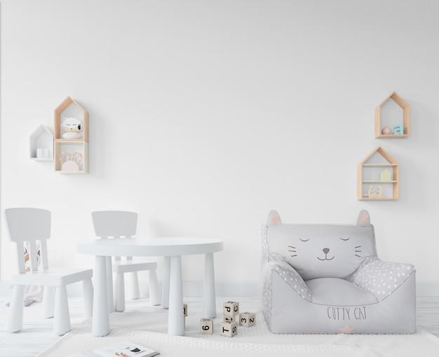 Pokój dziecinny z zabawkami i półkami