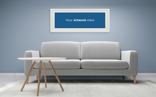 Pokój dzienny sofa ze stołem pusta ramka na zdjęcia makieta