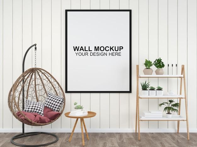 Pokój dzienny wnętrze domu makieta podłogi meble tło, minimalistyczny design kopia przestrzeń szablon psd