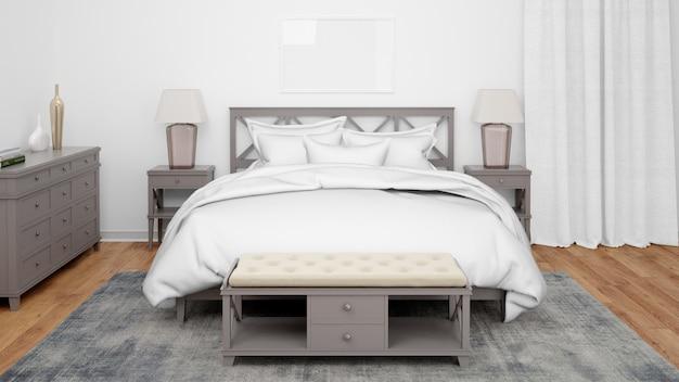 Pokój hotelowy lub sypialnia o klasycznym stylu i eleganckich meblach