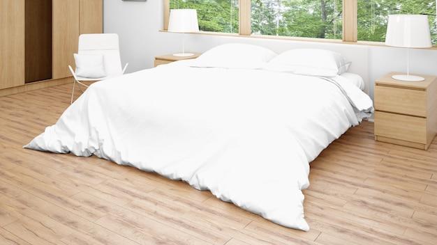 Pokój hotelowy lub sypialnia z podwójnym łóżkiem i dużymi oknami