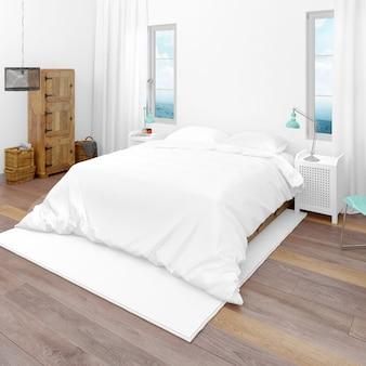 Pokój hotelowy z podwójnym łóżkiem i widokiem na morze