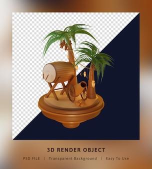 Pokój izometryczny koncepcja strony docelowej szablonu renderowania 3d