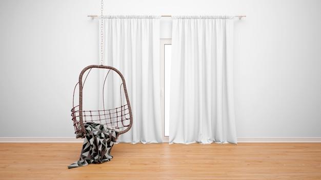 Pokój z wiszącym krzesłem obok okna z białymi zasłonami
