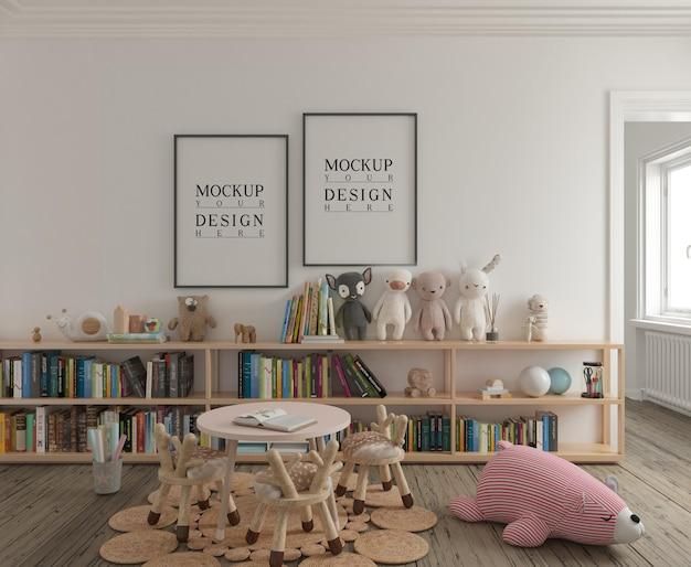 Pokój zabaw dla dzieci z makietą plakatu