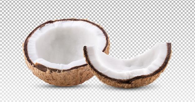 Pół kokosa na białym tle