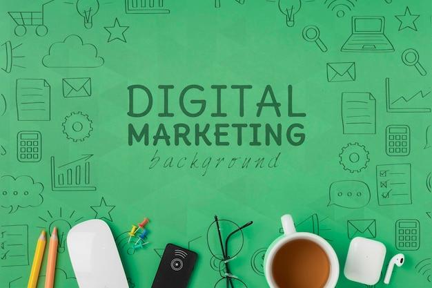 Połączenie wifi 5 g do makiety marketingu cyfrowego