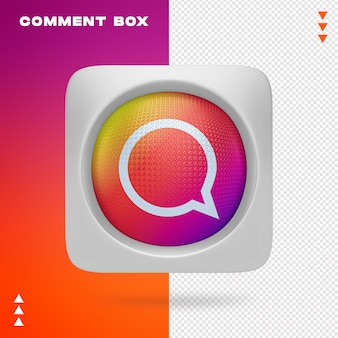Pole komentarza na instagramie w renderowaniu 3d na białym tle