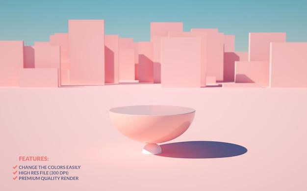 Półkula różowy podium na zewnątrz sceny w renderowaniu 3d