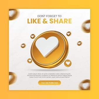 Polub i udostępnij za pomocą ikon renderowania 3d media społecznościowe i szablon postów na instagramie