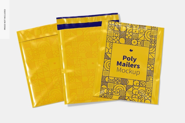 Poly mailers set mockup