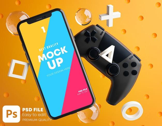 Pomarańczowa makieta smartfona do gamepada