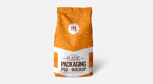 Pomarańczowa torebka na torebkę mockup plastikowa torebka folia srebrna