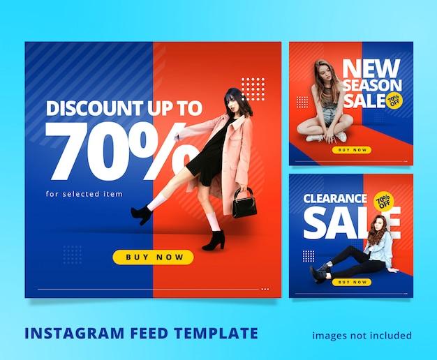 Pomarańczowo niebieski instagram feed post szablon 3d wygląd