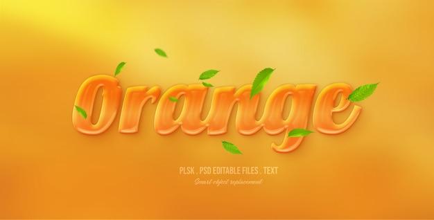 Pomarańczowy efekt stylu tekstu 3d