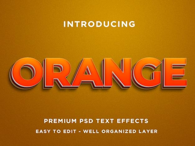 Pomarańczowy, efekt tekstowy 3d premium psd