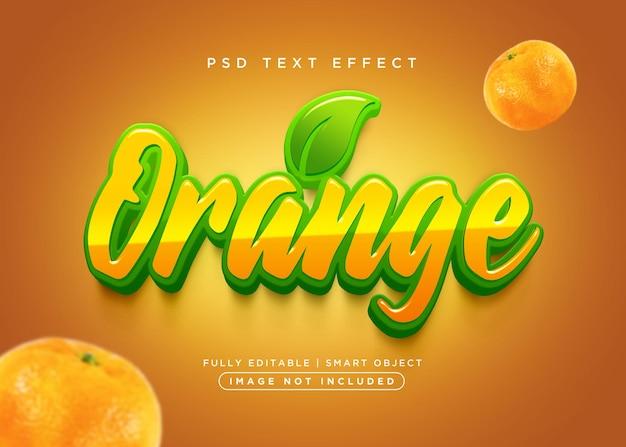 Pomarańczowy efekt tekstowy w stylu 3d