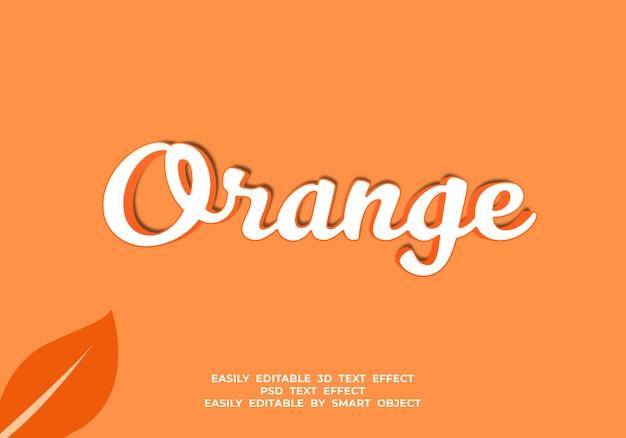 Pomarańczowy kolor 3d efekt stylu tekstu