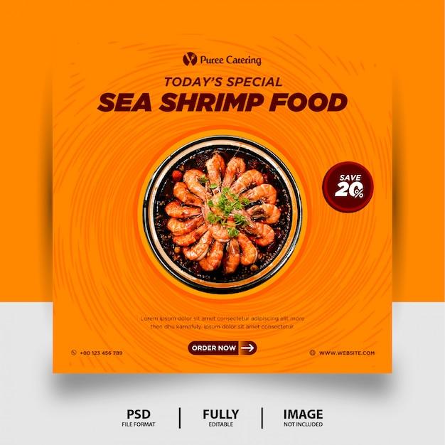 Pomarańczowy kolor specjalna żywność morska social media post banner