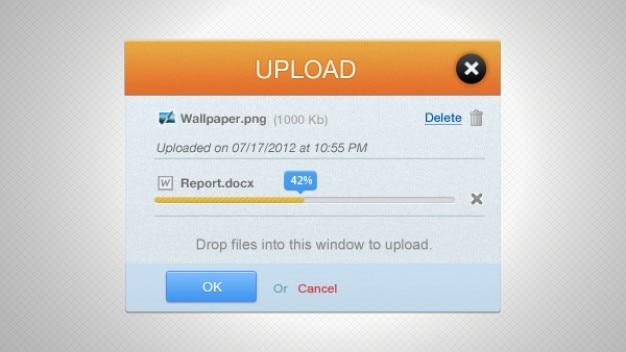 Pomarańczowy przesłać postęp interfejs bar