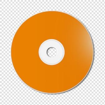 Pomarańczowy szablon cd - dvd makieta na białym tle