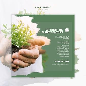 Pomóżmy planecie razem kwadratowy szablon plakatu