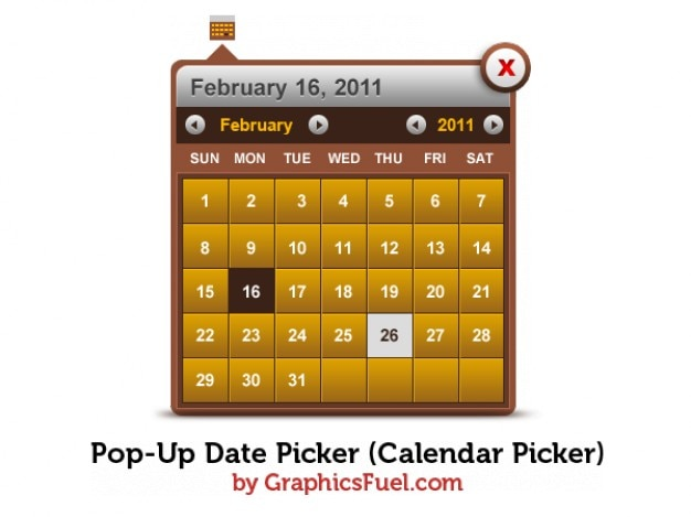 Pop-up data calendar selektor psd