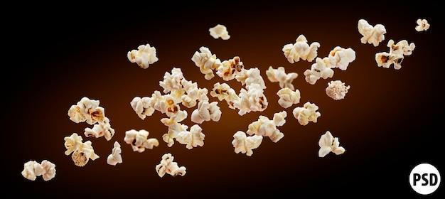 Popcorn na czarnym tle.