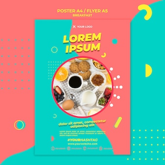 Poranną kawę i jedzenie plakat szablon