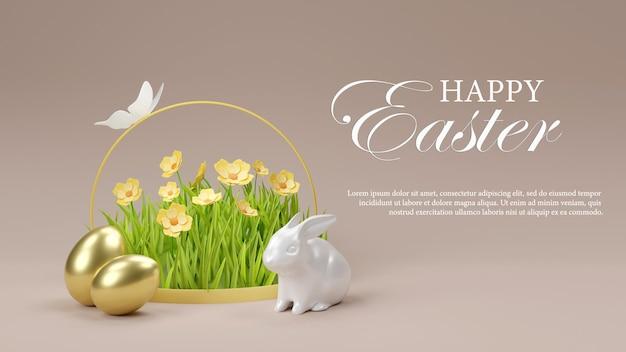 Porcelanowy królik złote jajka wielkanocny dzień 3d render szablonu