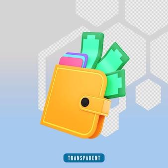Portfel z ikonami renderowania 3d