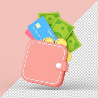 Portfel z kartą kredytową i pieniędzmi na białym tle renderowania 3d