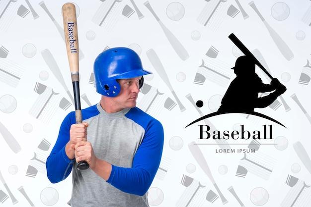 Portret gracz baseballa z hełmem