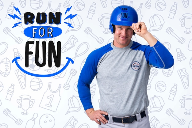 Portret męski gracz baseballa