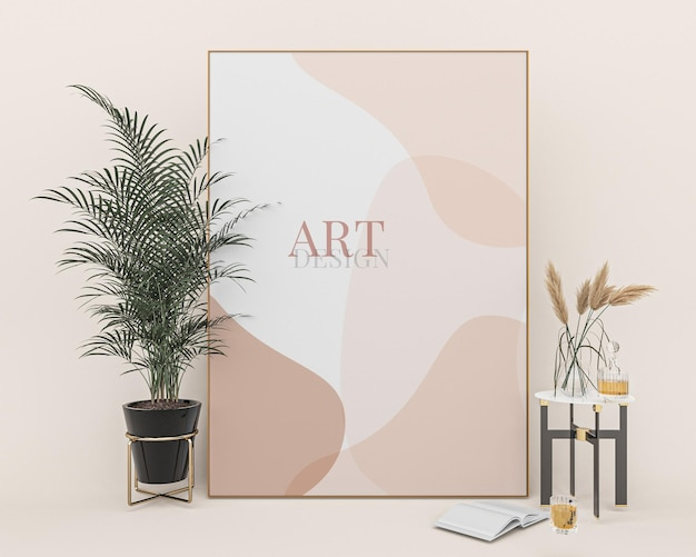 Portretowe ramki do zdjęć makieta projekt artystyczny w pobliżu rośliny doniczkowej