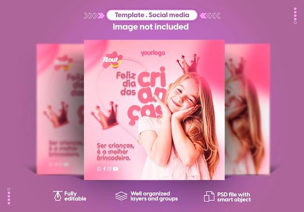Portugalski szablon dla mediów społecznościowych szczęśliwego dnia dziecka 12 października brazylia