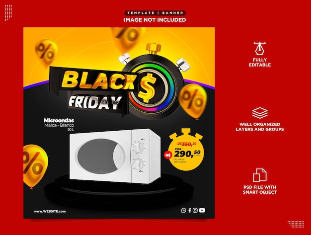 Portugalski szablon psd mediów społecznościowych do sprzedaży produktów promocyjnych w czarny piątek
