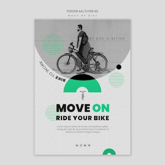 Poruszaj się koncepcją ulotki rowerowej