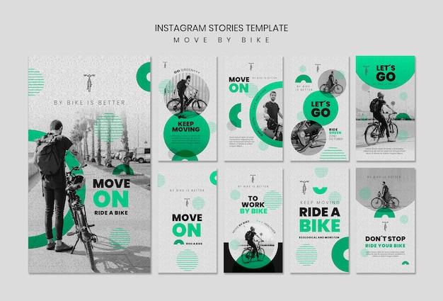 Poruszaj się po historiach na instagramie na rowerze