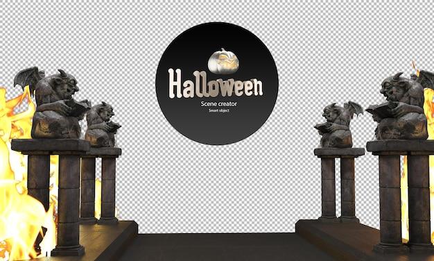 Posągi diabła posągi demonów obok chodnika dekoracyjne posągi halloween